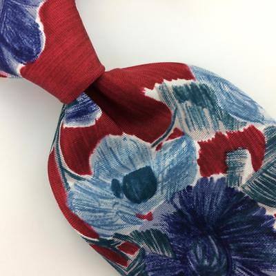 7 TH AVE USA TIE FLORAL RED Turquoise BLUE Silk Necktie Excellent Ties I8-125
