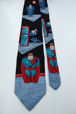 CELERATION! SUPER GUY! HALLMARK Gray Black SILK TIE NECKTIE Z1-284
