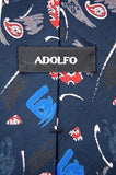 ADOLFO ART DECO Paisley  BLACK RED BLUE TIE NECKTIE #Z1-281