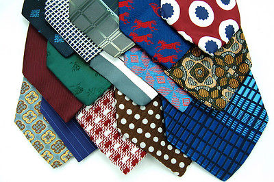 30 VINTAGE FAT WIDE POLYESTER CRAFTS Quilting Art Work Men NECKTIE TIE LOT