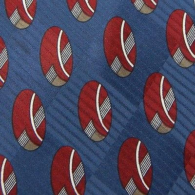 David Lawrence Made In Italy Navyblue Red Oval Geometric Men Neck Tie Z1-512 New