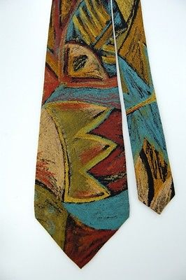 J.T Beckett Art Deco Olive Blue Red Rayon Men Neck Tie #Z1-296