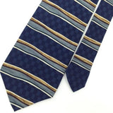JOHN HENRY US MADE STRIPED NAVY BLUE Brown Men Short Necktie #I1-1178  EUC Ties