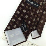 COUNTESS MARA Logo FLORAL BROWN  Men's Short Necktie #I1-1192  Excellent Ties
