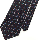 COURREGES HOMME US MADE BLACK Blue OVALS Woven Silk Men Necktie Tie I1-1118