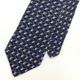 GEOFFREY BEENE TIE US GEOMETRIC Stripe BLUE BLACK Silk Necktie Ties I6-181 New