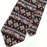 STUDIO 1735 US MADE MAROON GEOMETRIC PAISLEY Silk Classic Necktie I2-192 Ties