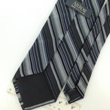 ARROW HEAVY STRIPED GRAY Black Woven Silk Men Necktie Tie I1-1012 Excellent