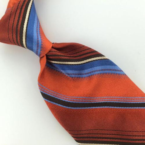 "59"" L Ted Baker US Made Orange Blue Black Stripe Necktie Silk Neck Tie Ties #L1"