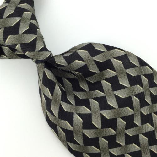 "XL 60"" LOUIS ROTH BLACK GRAY GEOMETRIC Silk Mens Neck Tie H2-102 Excellent"