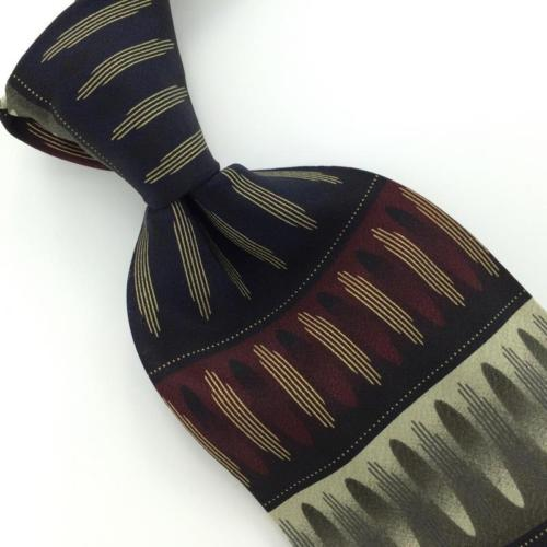 GIORGIO BRUTINI ART DECO Stripe MAROON BLK GRAY Silk Necktie I1-47 New Ties