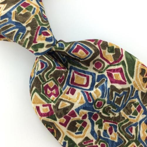 CHRISTIAN DIOR US MADE ABSTRACT OLIVE GREEN Men Necktie I4-74 EUC Ties