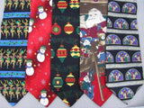 2 Christmas Xmas Holiday Silk Men's Santa Surprise Ties Necktie Neck Tie Lot #D5