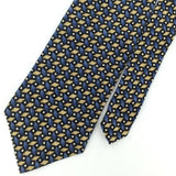 FERRELL REED BLACK BLUE WHITE DIAMOND CIRCLES Silk Mens Neck Tie H2-54 Excellent