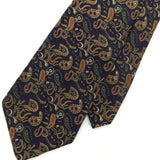 FREEDBERG OF BOSTON US MADE FLORAL BROCADE Gold BLK BRN Jacquard Neck Tie I1-140