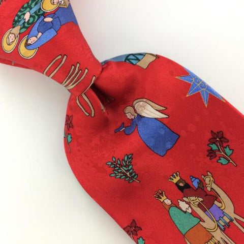 AMERICAN GREETINGS CAMEL ANGELS RED FLORAL Silk Christmas Necktie Ties X1-57 New
