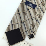 STAFFORD PLAIDS Stripe Black Brown Beige Silk Men Necktie I1-572 Excellent Ties