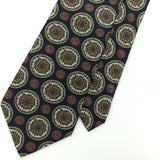 VINTAGE CLAYBROOKE US MADE Ancient Madder  NAVY BLUE Red Silk Men Necktie I3-45