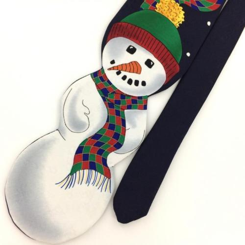 JOLLY HOLLY SNOWMAN NAVY BLUE Christmas Men's Necktie tie #XP1-112 New