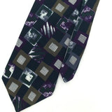 ANDREW ROSETTI US MADE Checkered GRAY PURPLE Silk Classic Necktie I2-229 Ties