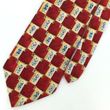 BOSTON HARBOR RED YELLOW GEOMETRIC Checkered Silk Mens Necktie H2-317 EUC Ties