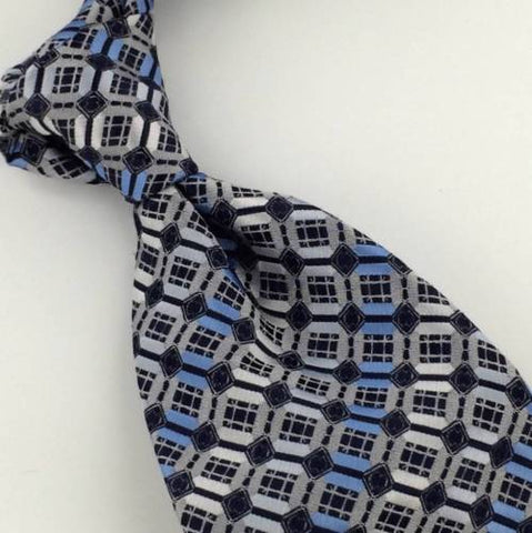 New ALEXANDER JULIAN COLOURS BLUE GRAY GEOMETRIC POLYESTER MENS NECKTIE TI #49HA