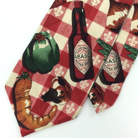 TABASCO CARROTS CAPSCIUM ONIONS Silk Plaid Red Grn Mens Neck Tie N1-13 Excellent