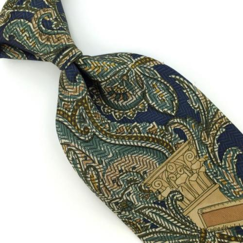 VTG STRUCTURE US MADE NAVY BLUE GREEN Ancient Madder Silk Necktie I1-515 Ties