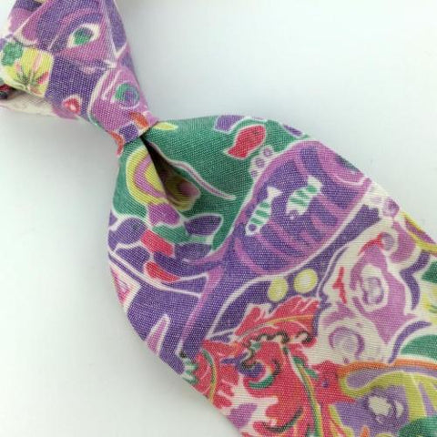 TANGO MAX RAAB US MADE FISHES ART VIOLET RAYON Men Neck Tie NR4-93 Excellent