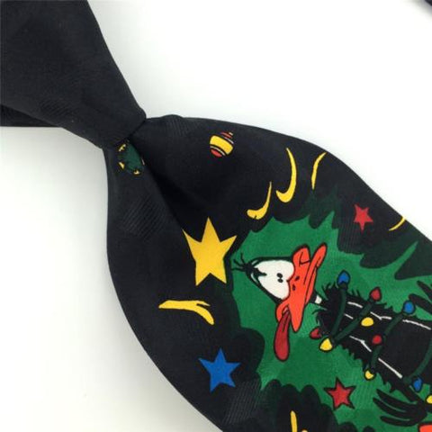 LOONEY TUNES MANIA BLACK ORNAMENTS Taz Tweety Christmas Necktie Tie X6-309 New