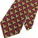 KAPS RED GOLD TRIANGLE Micro Square Silk Men Necktie I1-317 Excellent Ties