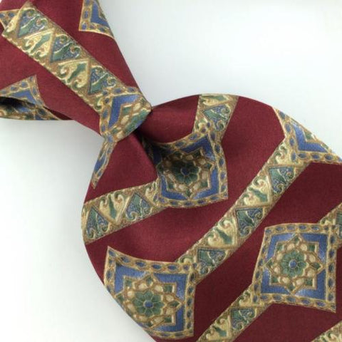 BILL BLASS ART DECO Flower MAROON Silk Men Classic Necktie I2-442 Excellent Ties