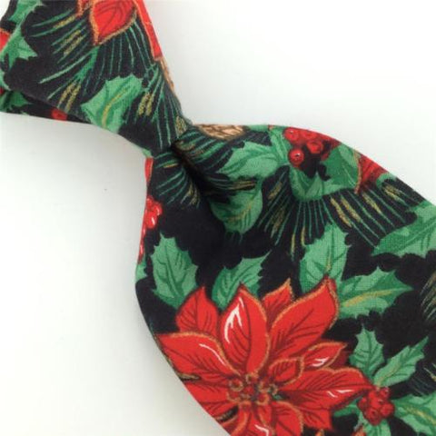 Vintage FLING BLK HOLLY FLOWERS Christmas Cotton Handmade Necktie Tie #CX6-249