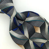 CONTE DI MILANO US MADE STRIPED GRAY Silk Men Classic Necktie I2-249 EUC Ties