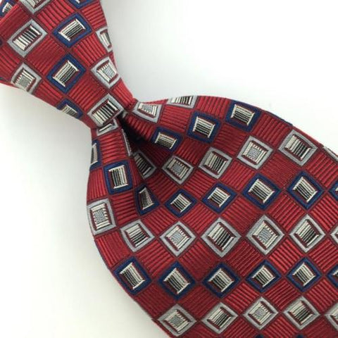 BURMA BIBAS SELF TIPPED Checkered Silver MAROON HEAVY Woven SILK Necktie I1-927