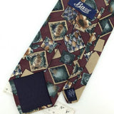 BASS US MADE FLORAL Square SAND WASHED MAROON BROWN Silk Men Necktie I1-78 Ties