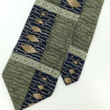CONTE DI MILANO US MADE OLIVE GREEN Waves ArtSilk Classic Necktie I2-427 Ties