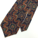 Vintage Structure Tribe Deco Art US Made Rayon Brown Necktie M3/R-52 Ties