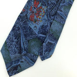 ADOLFO US HANDMADE ABSTRACT STEEL BLUE Red Silk Men Necktie I1-860 Excellent Tie