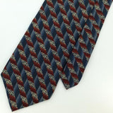 CHRISTIAN DIOR US MADE Cross STRIPED BLUE Maroon Silk Men Necktie I1-407 EUC Tie