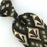 FACETS Olive GREEN Brown Gray GEOMETRIC Floral Art Silk Men Neck Tie H2-169 EUC