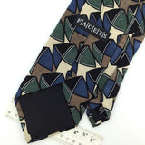FACETS US MADE Art SHAPES BLUE GREEN BROWN Silk Men Necktie I1-518 Excellent Tie