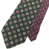 TOMMY HILFIGER US MADE GEOMETRIC FLORAL Olive GREEN Silk Men Necktie I1-347 Ties