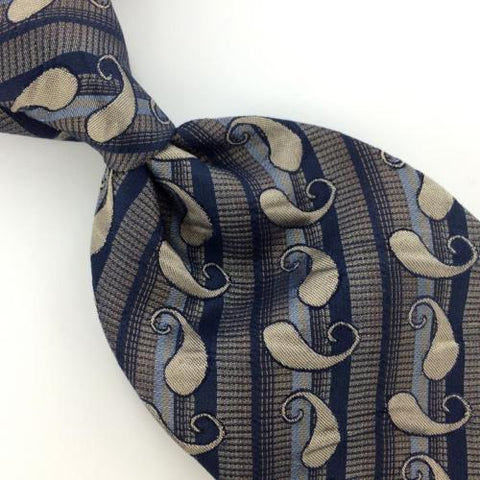 EMILIO PONTI TEXTURED PAISLEY Silver NAVY BLUE Silk Men Necktie Ties I1-1200 New