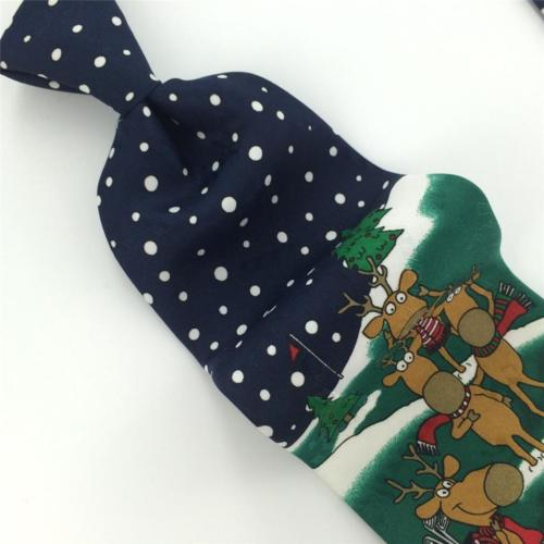 YULE TIE GREETINGS GRN Blue PREINDEER SANTA Christmas Dot Dot Necktie X6-265 New