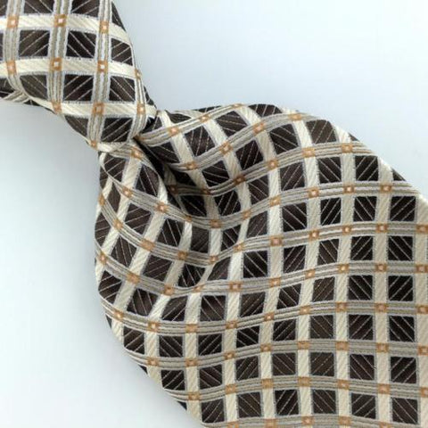 ALEXANDER JULIAN COLOURS GRID THICK WOVEN BROWN Mens Necktie Tie IP4-474 New