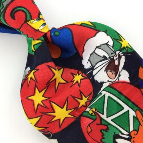 looney tunes mania ornaments red navy blue christmas mens necktie ties xp2 364 - Elmer Fudd Blue Christmas