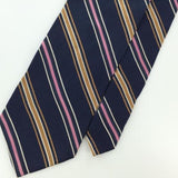 JOS A BANK ITALY STRIPED NAVY BLUE Woven Silk Men Necktie  Tie I1-926 Excellent