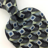 CLAIBORNE TIE USA MADE GEOMETRIC Waves GRAY BLACK Silk Necktie Ties I6-92 New