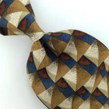 FERRELL REED BLUE BROWN GEOMETRIC CHECKERED Silk Mens Neck Tie H2-60 Excellent